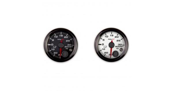 White Analog Style Series 2-1//16 Vacuum//Boost Gauge Holley 26-606W 30InHg//30 PSI