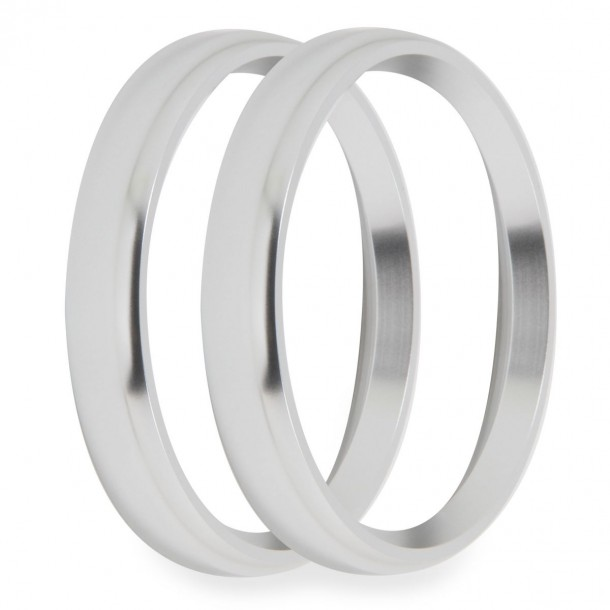 3-3/8 Inch Bezels, Silver, Bold, Pack of 2