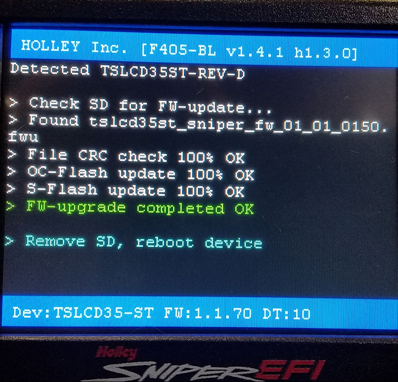 Screen shot displaying Sniper ECU firmware update process (v 1.1.15)
