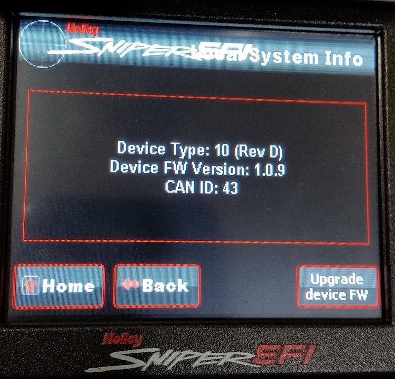 Screen shot displaying Sniper Handheld firmware version (1.0.9)
